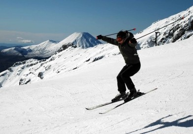 Volcanic skiing. Laugh in the face of danger and go skiing on a volcano